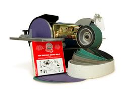 """Multitool 1HP Grinder with 2 x 36"""" Belt Attachment, Mitre Ta"""
