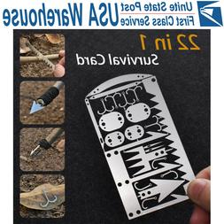 22-in-1 Multi Tool Card survival Wallet sized Camping Hiking