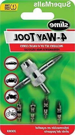 4-WAY VALVE TOOL WITH 4 VALVE CORES SLIME 20088 FREE SHIP