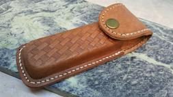 """Brown Stamped Basketweave Leather Folding 5"""" Knife Multi Too"""