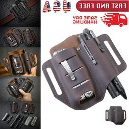 EDC Leather Sheath Multitools Pouch Bag for Knives Flashligh