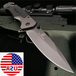 Hunting Folding Knife G10 Flipper Tactical Combat Camping Po