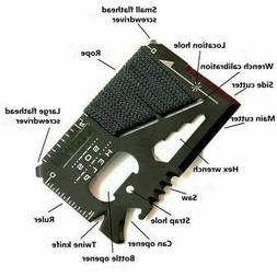 Stainless Steel Credit Card Tool  14 in 1 Multi Pocket Survi
